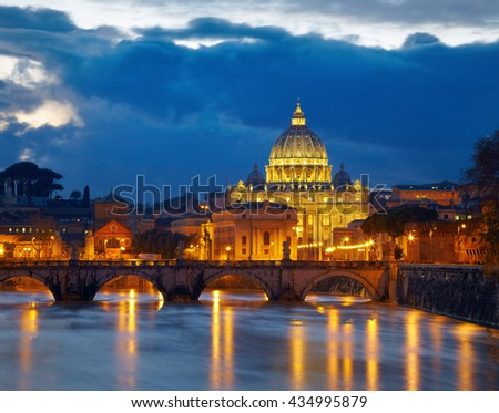 Basilica St. Peter in Rome, Italy. Night view after sunset - stock photo