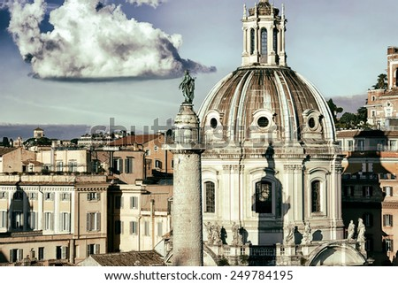 Basilica Ulpia Trajan's Column in Rome Vintage Effect - stock photo