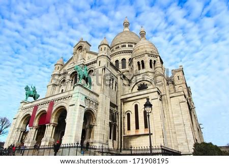 Basilique of Sacre Coer (saint heart) in a Paris - stock photo