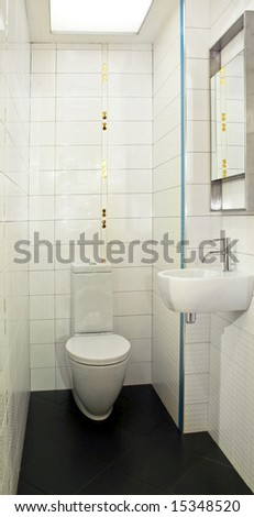 Basin and toilet in very small lavatory