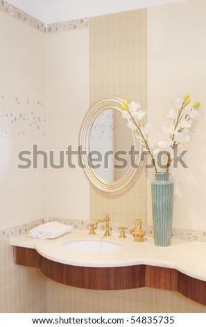 basin in the bathroom - stock photo