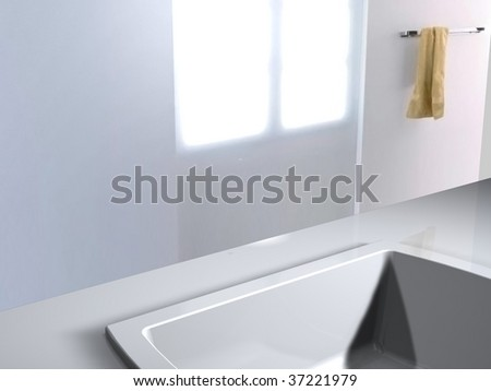 basin without faucet - stock photo