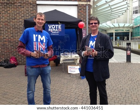 BASINGSTOKE, HAMPSHIRE, JUNE 22, 2016:  Remain Campaigners trying to convince voters to stay in the European Union with less than a day before the referendum in the UK. - stock photo