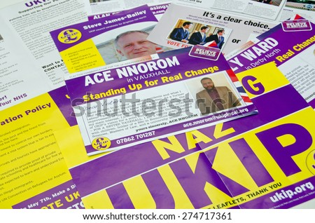 BASINGSTOKE, UK - MAY 3, 2015:  Campaign leaflets from UKIP candidates across the UK given to voters in various constituencies across the country. - stock photo