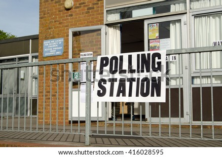 BASINGSTOKE, UK - MAY 5, 2016:  Entrance to a polling station at a primary school in Basingstoke, Hampshire on election day. - stock photo