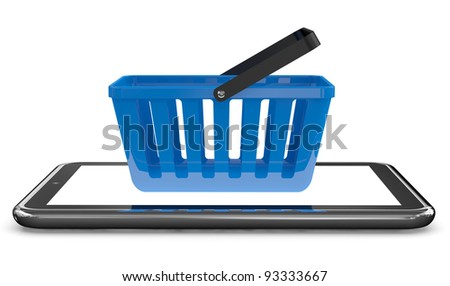 Basket and Touch screen tablet computer. Electronic Shopping concept. 3D model - stock photo