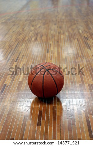 basket ball on the parquet - stock photo