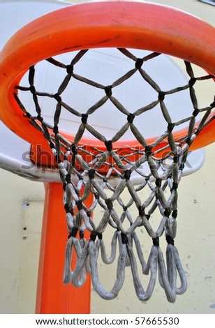 basket basketball for children with ropes and canvas white plastic circle - stock photo