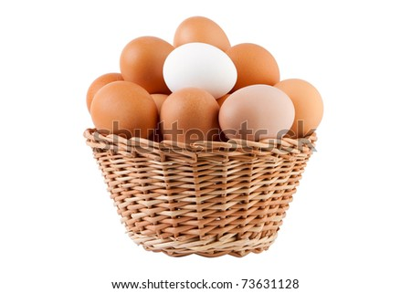 basket filled with eggs, isolated on white