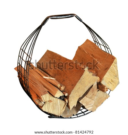 basket for fire wood - stock photo