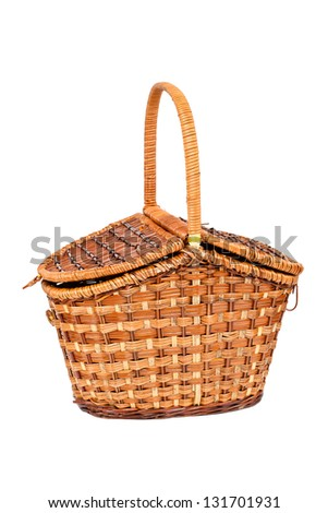 Basket for picnic isolated on white - stock photo
