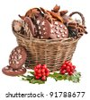 basket full christmas cookie on a white background - stock photo