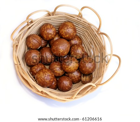 basket full of brown nuts - stock photo