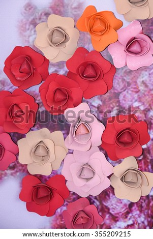 Basket full of colourful paper flowers. Wedding flower basket.Decoration bouquets of dried flowers.DRIED FLORAL BOUQUET IN A BASKET  - stock photo