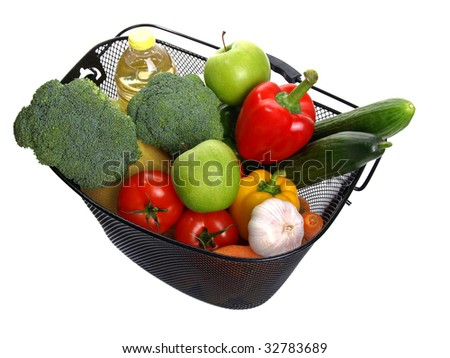 basket full of fresh colorful vegetables isolated on white background. (A shopping) - stock photo