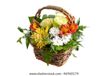 basket full of summer flowers white isolated - stock photo
