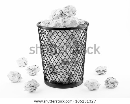 Basket Full of Waste Paper Isolated on White Background - stock photo