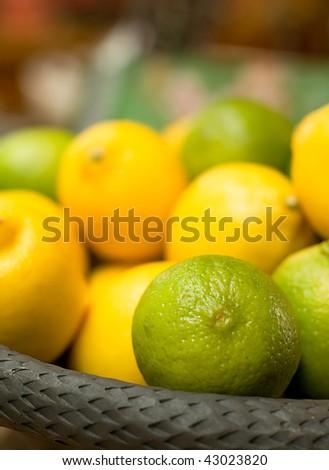 Basket full with Citrus Fruits - stock photo