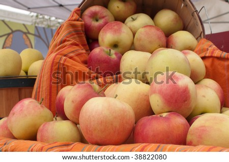Basket of Apples at the Saturday Market in Boise, Idaho - stock photo