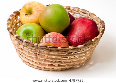 Basket of apples isolated on white background