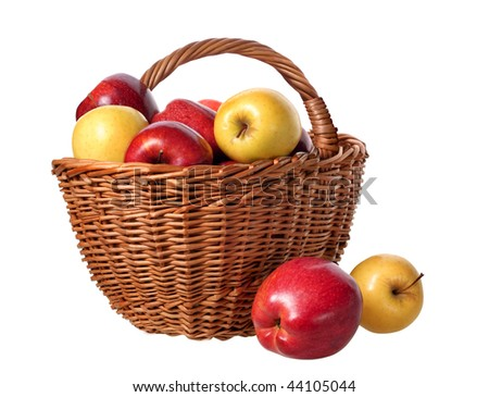basket of apples on white background