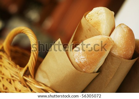 Basket of baguettes - stock photo