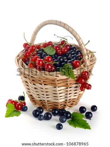 basket of berries on a white background