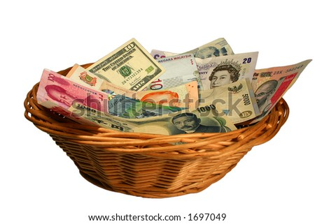 Basket of Currencies - stock photo