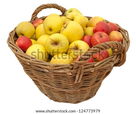 Basket of delicious apples (Jonagold and Golden Delicious), isolated on white background