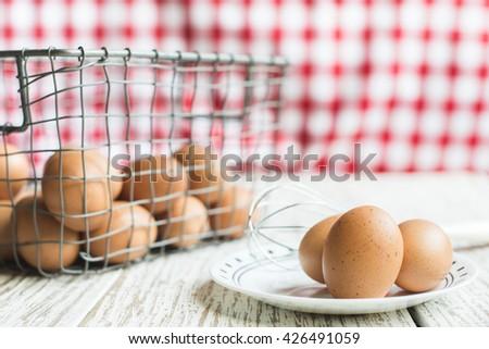 Basket of eggs - stock photo