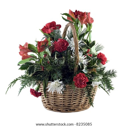 Basket of flowers isolated on a white background