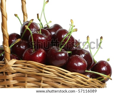 Basket of fresh cherries, isolated