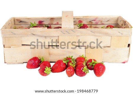 Basket of fresh strawberries isolated on white background with clipping path - stock photo