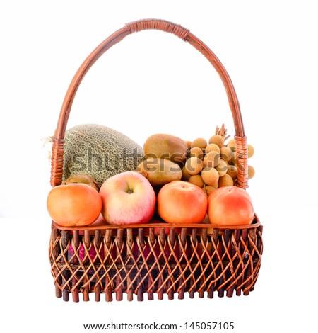 Basket of fruits isolated on white,orange,apple,kiwi, Longan - stock photo