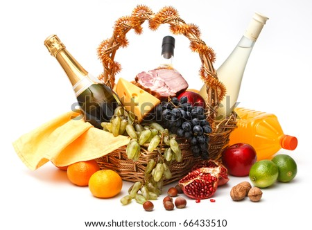 Basket of goods on white background