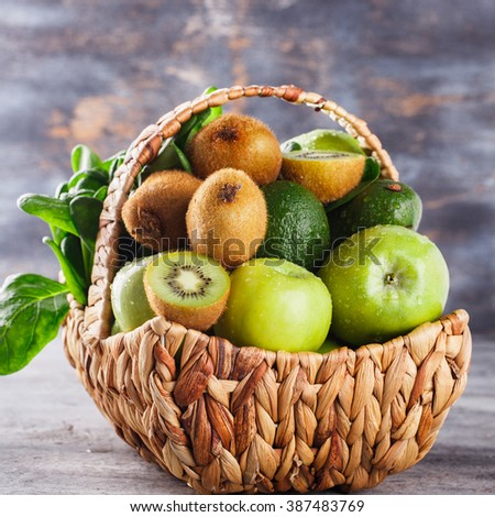 Basket of green fruit and vegetables. Healthy lifestyle.selective focus. - stock photo