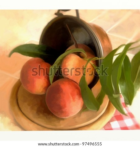 basket of peaches with digital painting - stock photo