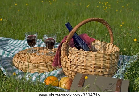 Basket of picnic in grass posed on a tablecloth - stock photo
