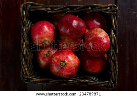 Basket of red pomegranates - stock photo