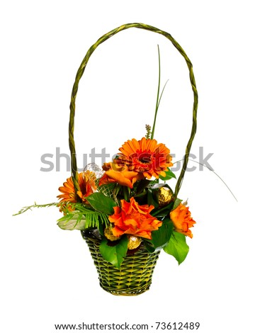 basket of roses and gerberas isolated over white background - stock photo