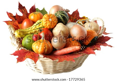 Basket of vegetable isolated on white background