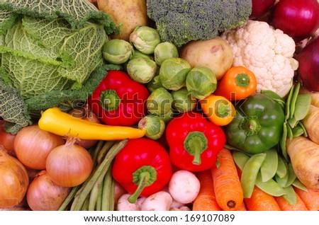 Basket Of Vegetables. A basket of fresh vegetables - stock photo