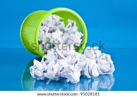 basket on a blue background - stock photo