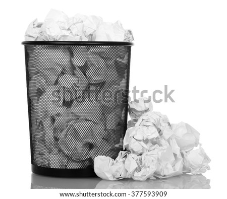 Basket overflowing with office paper isolated on white background - stock photo