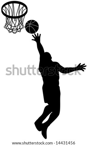 Basket player attacking the hoop