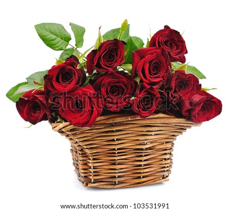 basket red roses on a white background