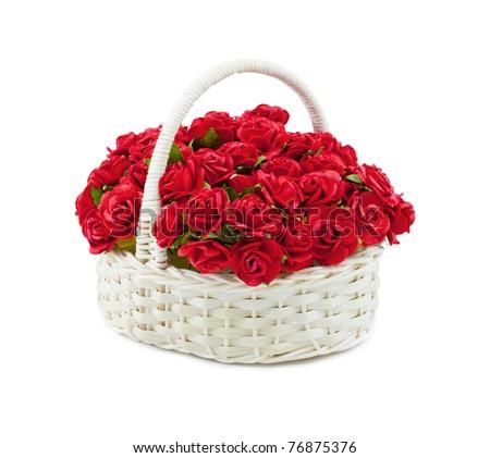 Basket roses isolated over white - stock photo