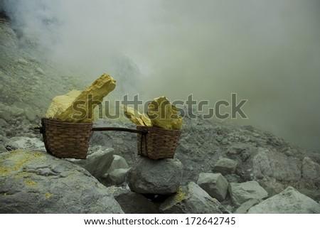 Basket sulfur, volcano in Indonesia  - stock photo