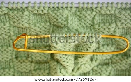 Basket Weave Pattern Knitted On Knitting Stock Photo Image