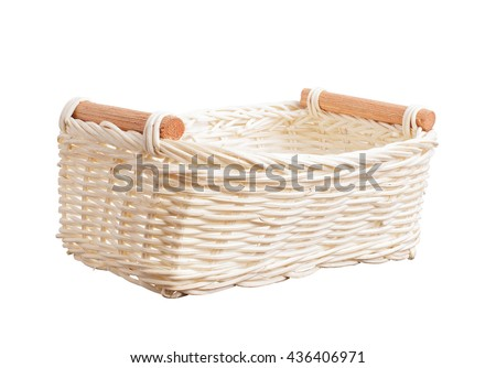 Basket wicker on isolated white background. - stock photo